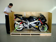 Motorcycle secured in a crate